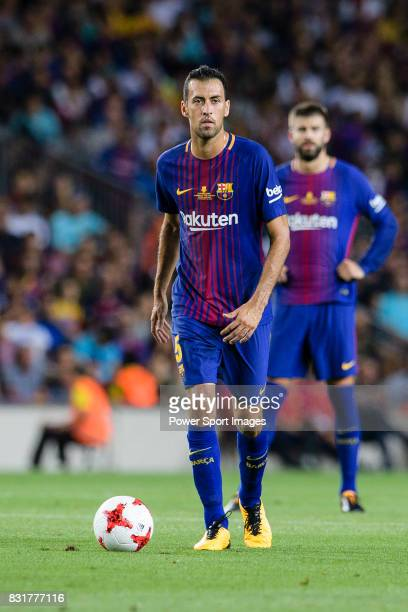 Sergio Busquets of FC Barcelona in action during the Supercopa de Espana Final 1st Leg match between FC Barcelona and Real Madrid at Camp Nou on...