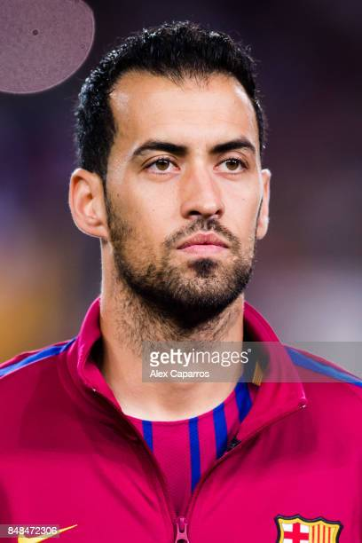 Sergio Busquets of FC Barcelona looks on before the UEFA Champions League group D match between FC Barcelona and Juventus at Camp Nou on September 12...