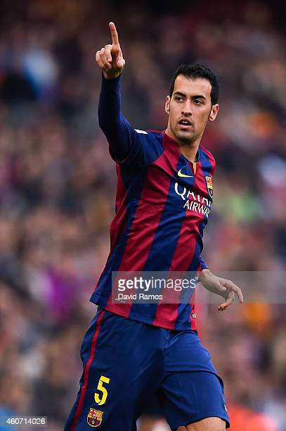 Sergio Busquets of FC Barcelona reacts during the La Liga match between FC Barcelona and Cordoba CF at Camp Nou on December 20 2014 in Barcelona Spain