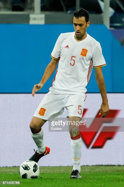 Sergio Busquets of Spain during Russia and Spain International friendly match on November 14 2017 at Saint Petersburg Stadium in Saint Petersburg...