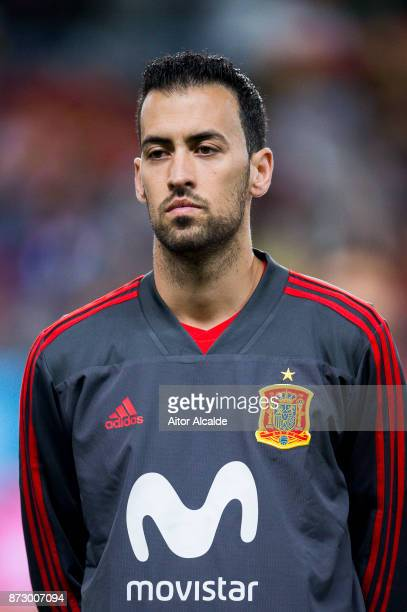 Sergio Busquets of Spain looks on prior to the start the international friendly match between Spain and Costa Rica at La Rosaleda Stadium on November...