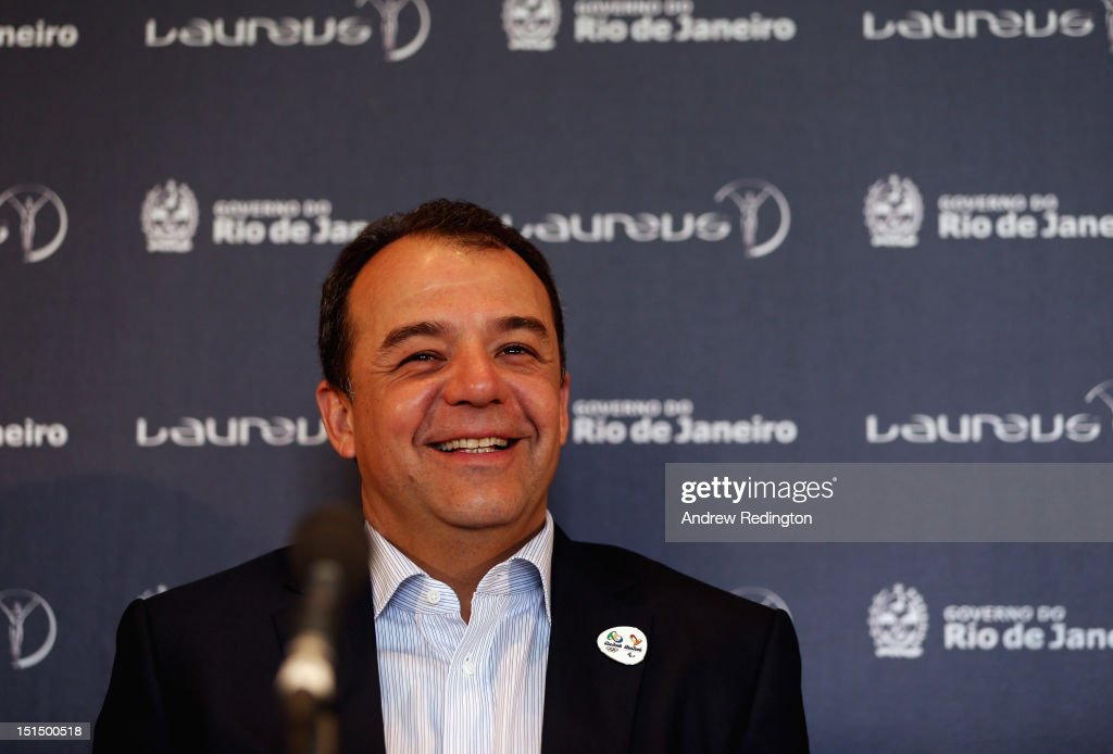 Sergio Cabral, Governor of the State of Rio de Janeiro, addresses the room during the press conference to announce that the 2013 and 2014 Laureus World Sports Awards will be held in Rio de Janeiro. The press conference was held at Somerset House on September 8, 2012 in London, England.
