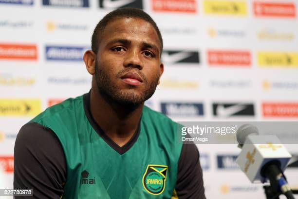 Sergio Campbell of Jamaica speaks during the Jamaica National Team Press Conference prior to the final match against United States at Levi's Stadium...