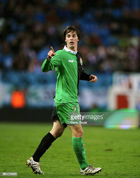 Sergio Canales of Racing Santander in action during the Copa del Rey semifinal first leg match between Atletico Madrid and Racing Santander at the...