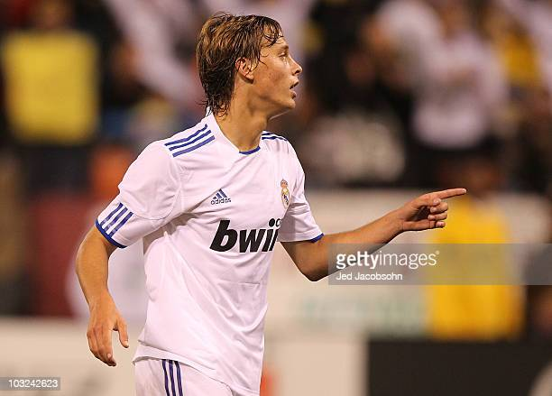 Sergio Canales of Real Madrid celebrates after scoring against Club America of Mexico during a preseason game at Candlestick Park on August 4 2010 in...