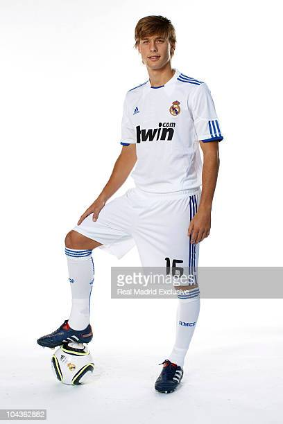 Sergio Canales of Real Madrid poses during the official portrait session at Valdebebas training ground on September 22 2010 in Madrid Spain