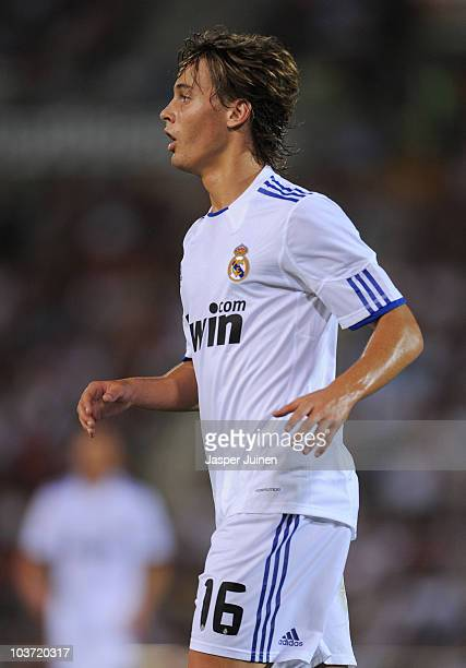 Sergio Canales of Real Madrid watches on during the La Liga match between Mallorca and Real Madrid at the ONO Estadio on August 29 2010 in Palma de...