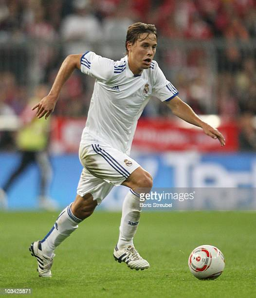 Sergio Canales of Real runs with the ball during the Franz Beckenbauer Farewell match between FC Bayern Muenchen and Real Madrid at Allianz Arena on...