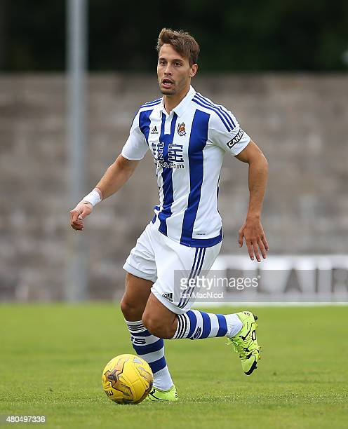 Sergio Canales of Real Sociedad controls the ball during the pre season friendly match between St Johnstone and Real Sociedad at Bayview on July 12...
