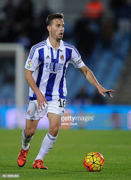 Sergio Canales of Real Sociedad de Futbol in action during the La Liga match between Getafe CF and Real Sociedad de Futbol at Coliseum Alfonso Perez...