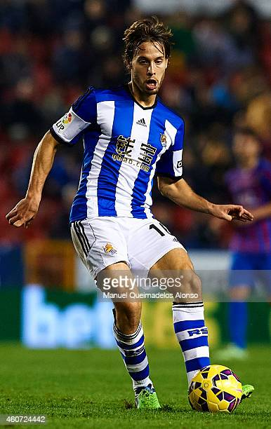 Sergio Canales of Real Sociedad in action during the La Liga match between Levante UD and Real Sociedad de Futbol at Ciutat de Valencia on December...