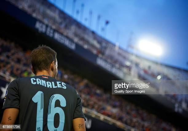 Sergio Canales of Real Sociedad looks on during the La Liga match between Valencia CF and Real Sociedad de Futbol at Mestalla Stadium on April 26...