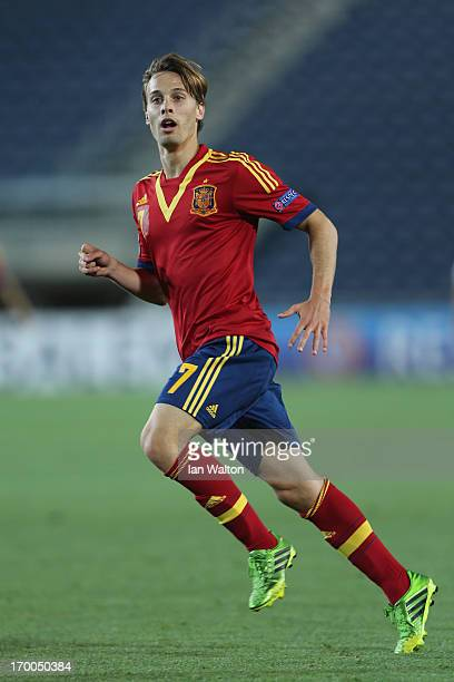 Sergio Canales of Spain in action during the UEFA European U21 Championships Group B match between Spain and Russia at Teddy Stadium on June 6 2013...