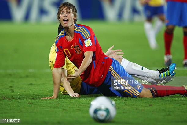 Sergio Canales of Spain reacts during the FIFA U20 World Cup 2011 quarter final match between Brazil and Spain at Estadio Hernan Ramirez Villegas on...