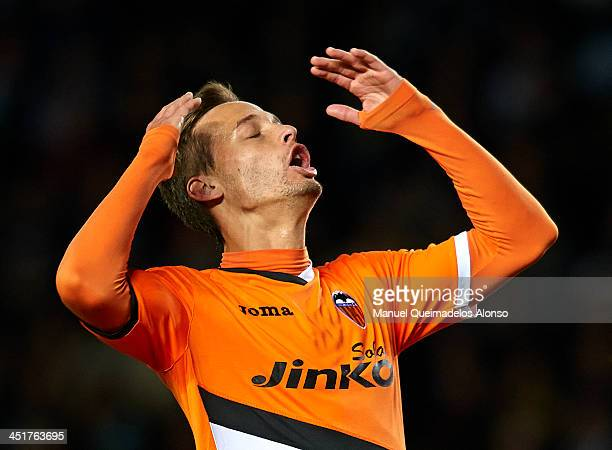 Sergio Canales of Valencia reacts as he fails to score during the La Liga match between Elche FC and Valencia CF at Manuel Martinez Valero on...