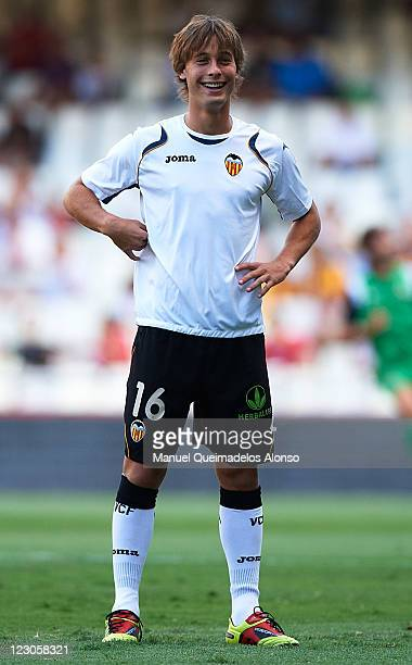 Sergio Canales of Valencia smiles before the start of the La Liga match between Valencia and Racing de Santander at Estadio Mestalla on August 27...
