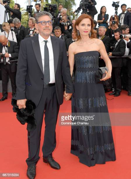 Sergio Castellitto and Margaret Mazzantini attend the 70th Anniversary screening during the 70th annual Cannes Film Festival at Palais des Festivals...
