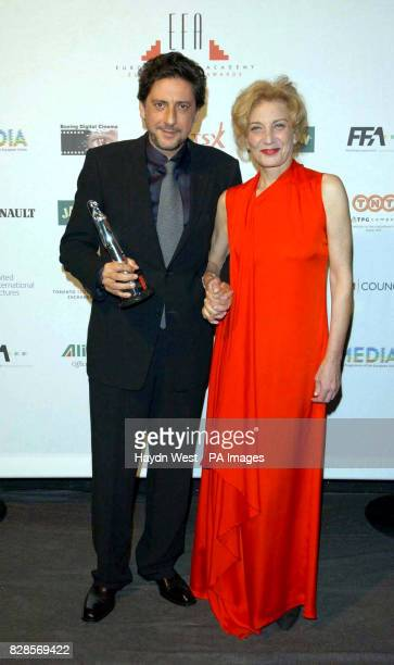 Sergio Castellitto with his award for Best Actor with Marisa Paredes during the European Film Awards 2002 at the Teatro dell'Opera di Roma Rome Italy