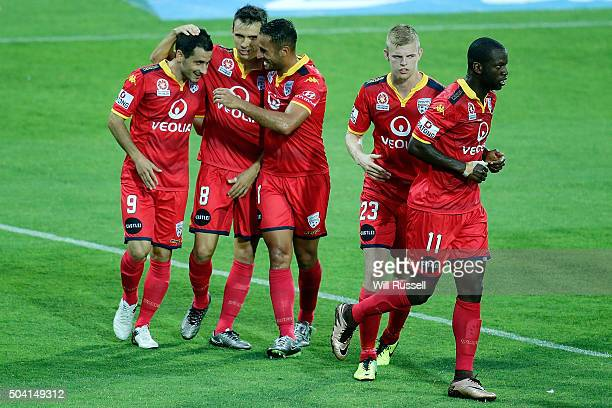 Sergio Cirio of Adelaide celebrates after scoring a goal during the round 14 ALeague match between the Perth Glory and Adelaide United at nib Stadium...
