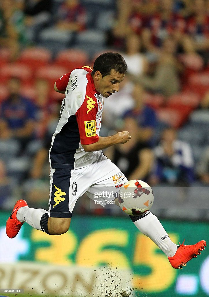 Sergio Cirio of Adelaide in action during the round 27 A-League match between the Newcastle Jets and Adelaide United at Hunter Stadium on April 11, 2014 in Newcastle, Australia.