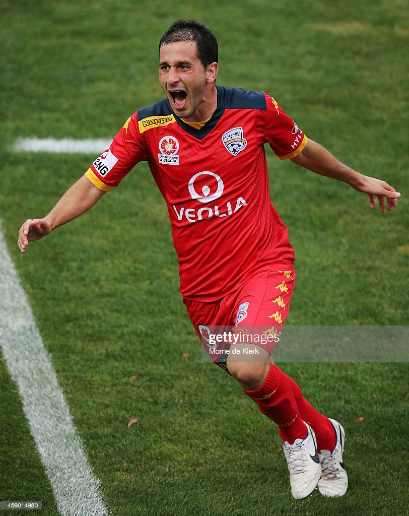 Sergio Cirio of Adelaide United celebrates after scoring the winning goal during the round six ALeague match between Adelaide United and the...
