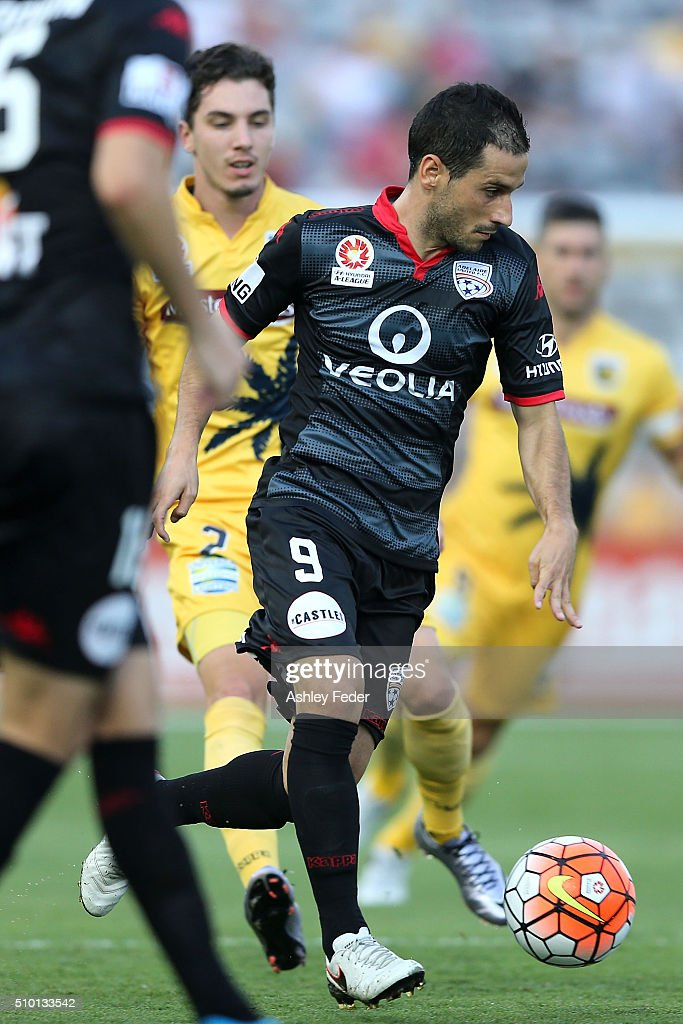 Sergio Cirio of Adelaide United controls the ball during the round 19 A-League match between the Central Coast Mariners and Adelaide United at Central Coast Stadium on February 14, 2016 in Gosford, Australia.