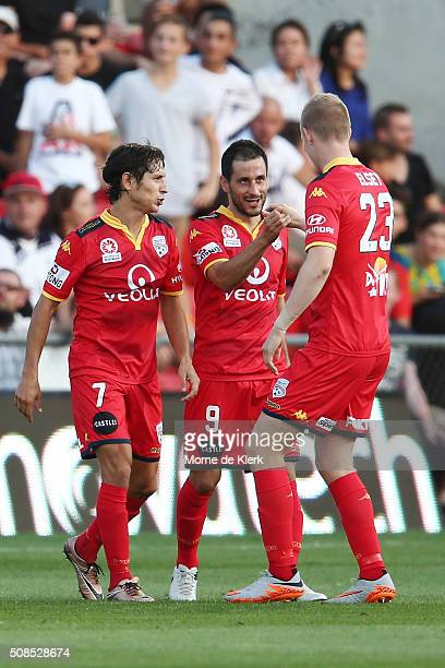 Sergio Cirio of Adelaide United is congratulated by teammates after he scored a goal during the round 18 ALeague match between Adelaide United and...