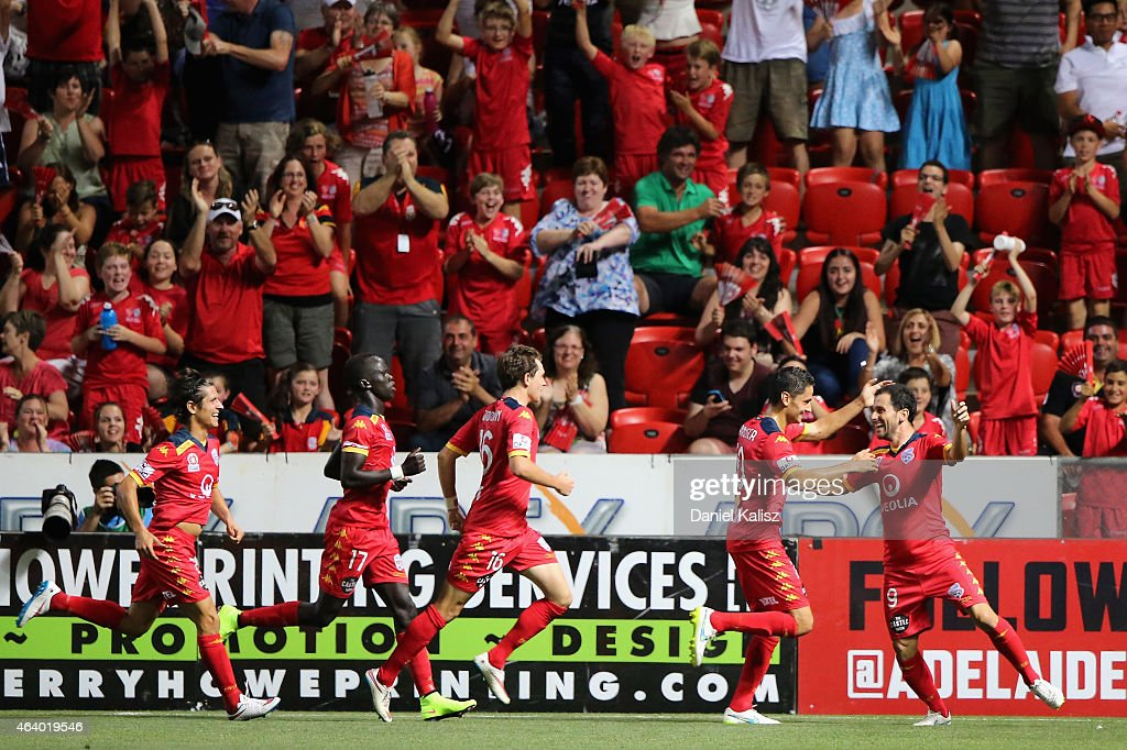Sergio Cirio of United celebrates with his team mates after scoring during the round 18 ALeague match between Adelaide United and Western Sydney...