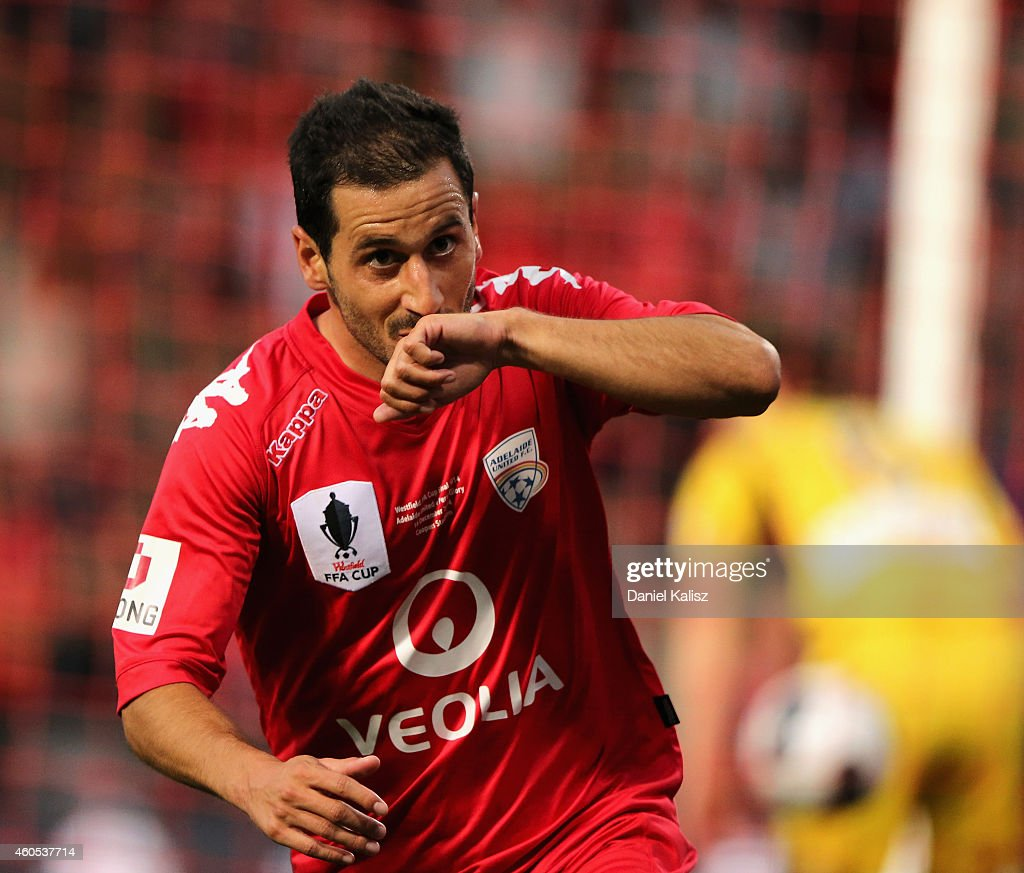 Sergio Cirio of United reacts after scoring during the FFA Cup Final match between Adelaide United and Perth Glory at Coopers Stadium on December 16...