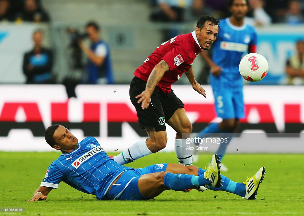 Sergio da Silva Pinto of Hannover is challenged by Sejad Salihovic of Hoffenheim during the Bundesliga match between 1899 Hoffenheim and Hannover 96...