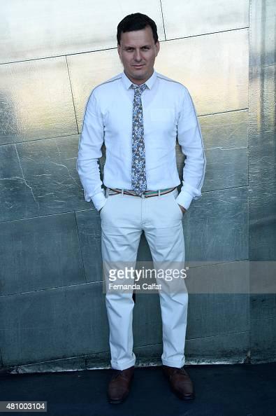 Sergio Davila poses at Sergio Davila Runway at New York Fashion Week Men's S/S 2016 at PHD at the Dream Downtown on July 16 2015 in New York City