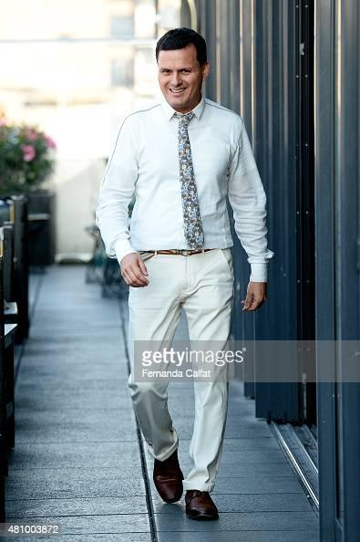 Sergio Davila walks at Sergio Davila Runway at New York Fashion Week Men's S/S 2016 at PHD at the Dream Downtown on July 16 2015 in New York City