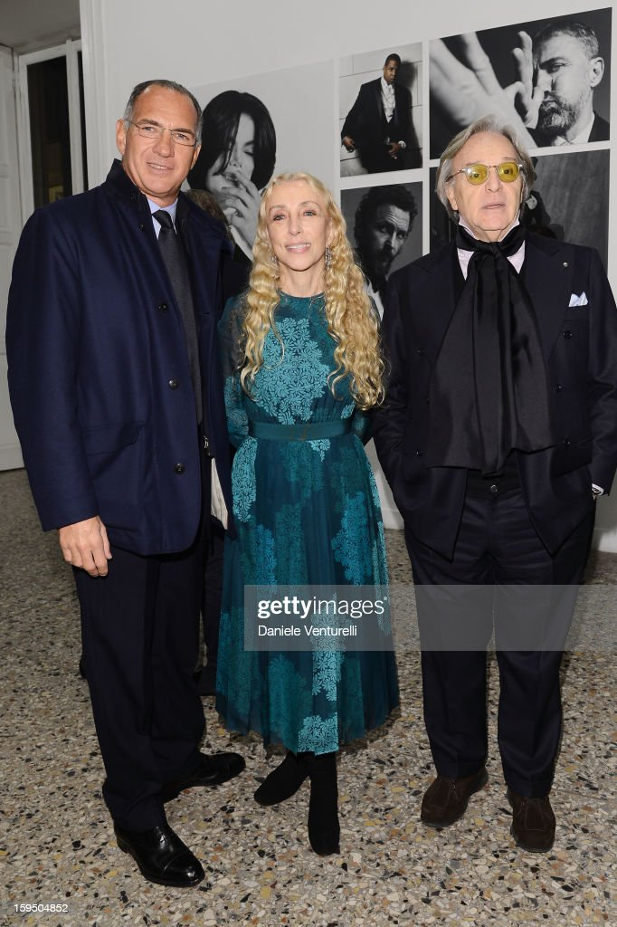 Sergio Dompe, Franca Sozzani and Diego della Valle attend the 'So Chic So Stylish' cocktail party as part of Milan Fashion Week Menswear Autumn/Winter 2013 on January 14, 2013 in Milan, Italy.