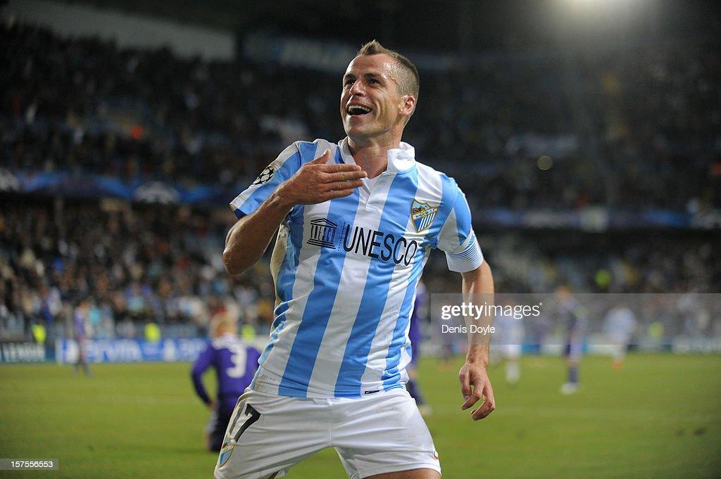 Sergio Duda of Malaga CF celebrates after scoring their goal during the UEFA Champions League Group C match between Malaga CF and RSC Anderlecht at...