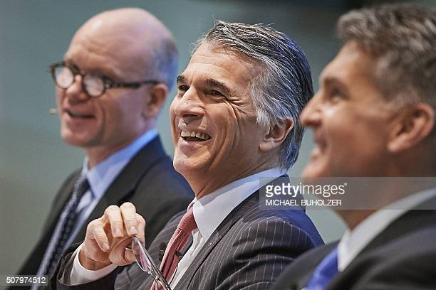 Sergio Ermotti CEO of Swiss banking giant UBS Kirt Gardner Group Chief Financial Officer and Hubertus Kuelps Group Head of Communications attend the...