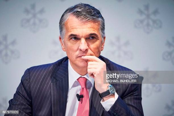 Sergio Ermotti CEO of Swiss banking giant UBS looks on before the presentation of UBS's fourth quarter 2015 results in Zurich on February 2 2016...