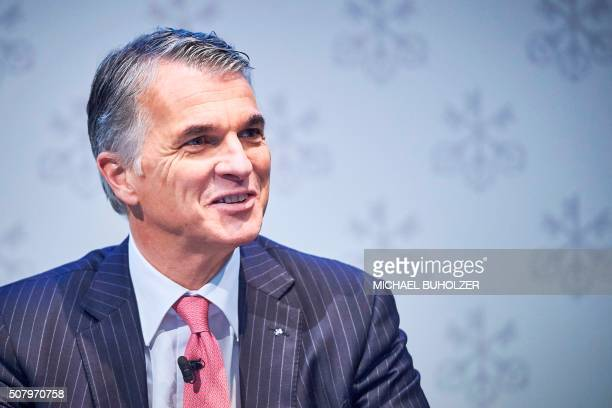 Sergio Ermotti CEO of Swiss banking giant UBS smiles before the presentation of UBS's fourth quarter 2015 results in Zurich on February 2 2016 Swiss...
