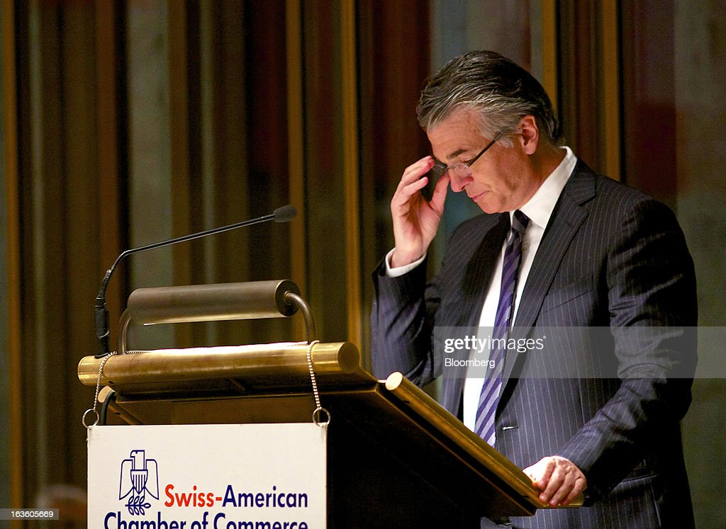 Sergio Ermotti, chief executive officer of UBS AG, adjusts his glasses during his keynote address at the Swiss-American Chamber of Commerce in Zurich, Switzerland, on Wednesday, March 13, 2013. Ermotti said U.S. regulations are a 'potential competitive disincentive for international groups.' Photographer: Gianluca Colla/Bloomberg via Getty Images