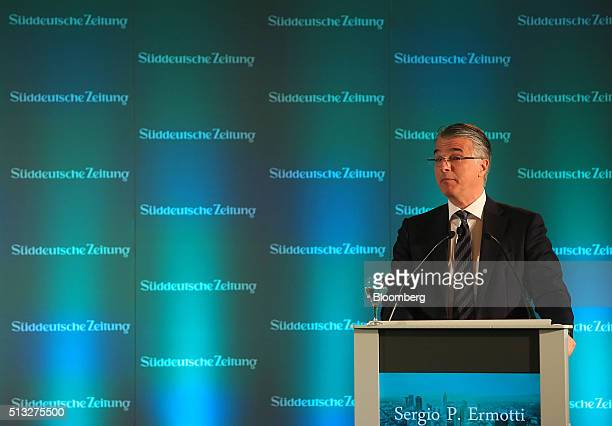 Sergio Ermotti chief executive officer of UBS AG looks on during the Sueddeutsche Zeitung finance day conference in Frankfurt Germany on Wednesday...