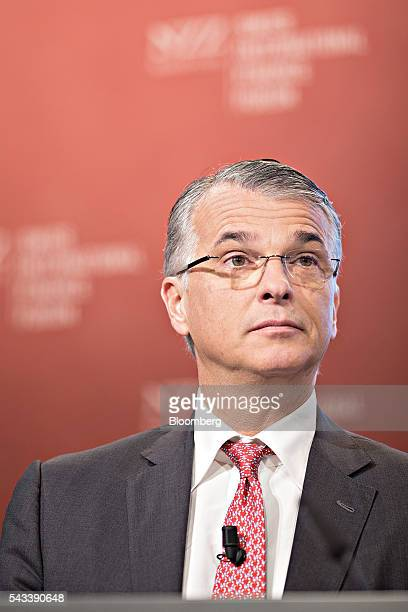 Sergio Ermotti chief executive officer of UBS AG looks on during the Swiss International Finance Forum in Bern Switzerland on Tuesday June 28 2016...