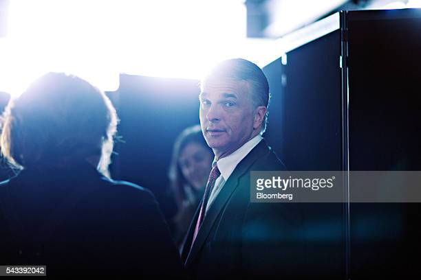 Sergio Ermotti chief executive officer of UBS AG looks on in between sessions during the Swiss International Finance Forum in Bern Switzerland on...