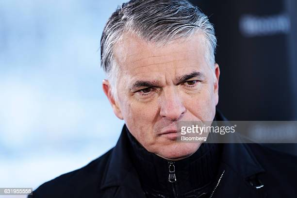 Sergio Ermotti chief executive officer of UBS AG pauses during a Bloomberg Television interview at the World Economic Forum in Davos Switzerland on...