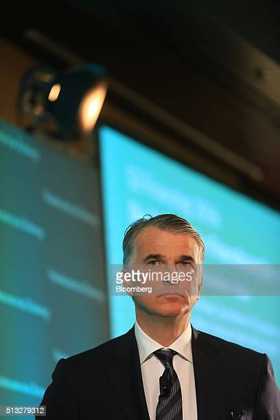 Sergio Ermotti chief executive officer of UBS AG pauses during the Sueddeutsche Zeitung finance day conference in Frankfurt Germany on Wednesday...