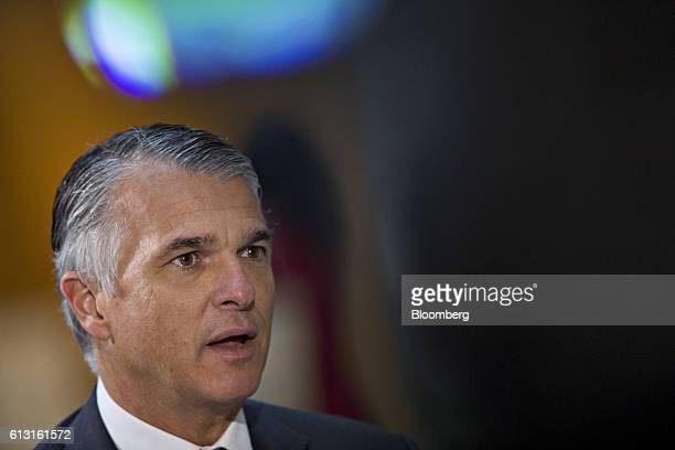 Sergio Ermotti chief executive officer of UBS AG speaks during a Bloomberg Television interview at the International Monetary Fund and World Bank...