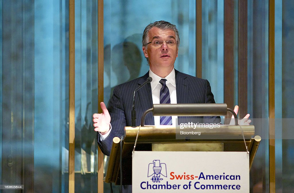 Sergio Ermotti, chief executive officer of UBS AG, speaks during his keynote address at the Swiss-American Chamber of Commerce in Zurich, Switzerland, on Wednesday, March 13, 2013. Ermotti said U.S. regulations are a 'potential competitive disincentive for international groups.' Photographer: Gianluca Colla/Bloomberg via Getty Images