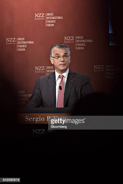 Sergio Ermotti chief executive officer of UBS AG speaks during the Swiss International Finance Forum in Bern Switzerland on Tuesday June 28 2016...