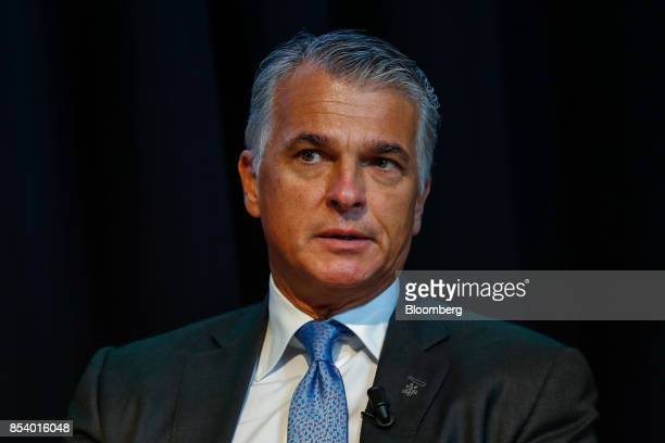 Sergio Ermotti chief executive officer of UBS Group AG gestures during a panel discussion at the Bloomberg European Banking Conference in Milan Italy...