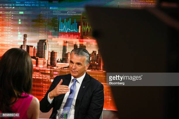 Sergio Ermotti chief executive officer of UBS Group AG speaks during a Bloomberg Television interview in New York US on Tuesday Oct 10 2017...