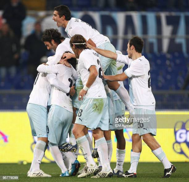 Sergio Floccari Alexander Kolarov Stefan Radu and players of SS Lazio celebrate the second goal during the Tim Cup between Lazio and Palermo at...