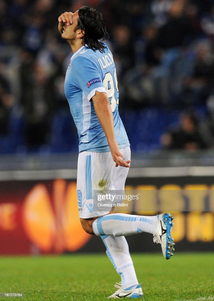 <a gi-track='captionPersonalityLinkClicked' href=/galleries/search?phrase=Sergio+Floccari&family=editorial&specificpeople=675401 ng-click='$event.stopPropagation()'>Sergio Floccari</a> of Lazio celebrates after scoring their second goal during the UEFA Europa League Group J match between SS Lazio and Apollon Limassol FC at Stadio Olimpico on November 7, 2013 in Rome, Italy.